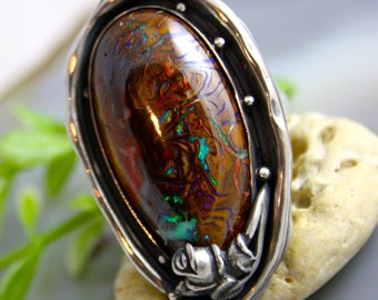 Opal Ring Sterling Silver Statement Ring Australian Opal