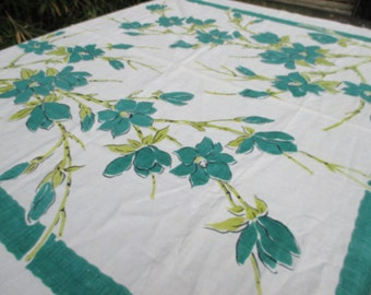Vintage Print Tablecloth  Linen with Bold Teal  Flowers Gorgeous