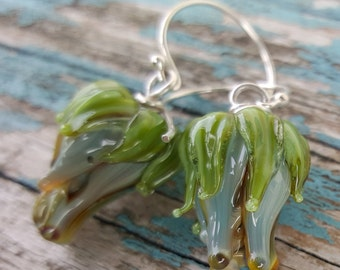 Glass & Silver Bud  Earrings.  Lampwork Earrings  SRAJD FHFteam