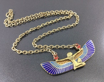 A Vintage Cloisart necklace, colorful Egyptian revival necklace with a pharoah.