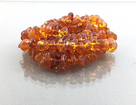 Antique Vintage Large Genuine Baltic Amber Beaded Flappee Necklace, Honey Raw Amber Bead. Amber Nugget Necklace. Baltic Necklace. Long.