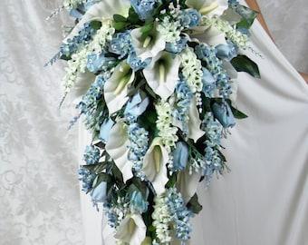 ANGIE LIGHT BLUE silk flowers babies breath roses calla lilies ivy bouquets bow ribbon satin stephanotis pearls, blossoms, rosebuds, diamond