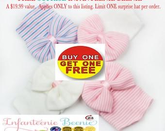 Pink and White Hospital Newborn Beanie, Baby girls,First Bow, Newborn Hat, Baby Girl Hospital Hat, Newborn Girl Hat, Newborn Bow, Her First