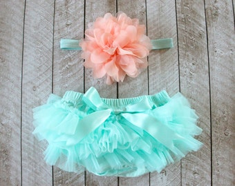 Baby Girl Ruffle Bottom Tutu Bloomer & Headband Set in Mint/Aqua and Peach - Newborn Photo - Cake Smash - Diaper Cover - Baby Gift -Birthday