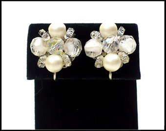 AB Crystal & White Pearl Earrings, White Givre Glass, Aurora Borealis, AB Crystal Earrings, Bridal Earrings, White Earrings, Gift for Mom