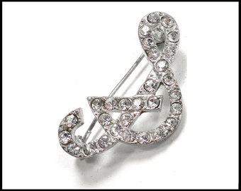 """Rhinestone """"S"""" Brooch, Rhinestone Monogram S, Silver S Brooch, Rhinestone Initial S, Valentines Day Gift For Her, Gift for Teenager"""