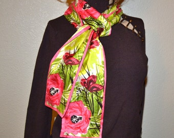 """Vintage  scarf 80s polyester 2 sides scarf shawl head band 4 """"x 63"""" chains pattern scarf Spring fashion unique gift"""