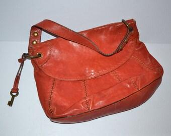 90s vintage orange tooled leather  shoulder bag  satchel purse by Fossil   attractive Fossil key  travel bag
