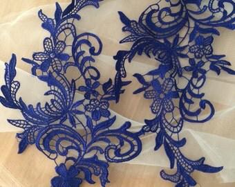crochet Venice lace applique pair in Navy for wedding lace, bridal veil decor