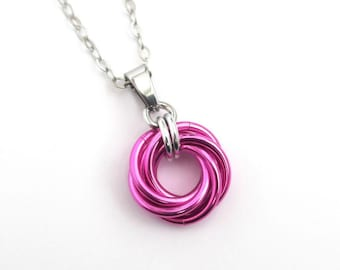 Hot pink pendant necklace, chainmail love knot, dainty pendant, circle pendant, chainmail jewelry