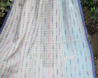 Pale blue Kantha ,Sari throw, Sari Blanket, Blue Kantha Blanket,  Kantha Throw, Indian Quilt, Coverlet,Brocade Kantha