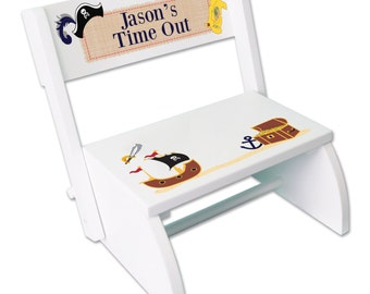 Boys Time Out Stool Personalized Kids Timeout Stools Childs Custom Time Out Chair Naughty Step Stool Toddler's Stepping Stool STOO-whi