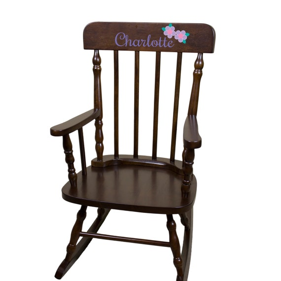 Personalized Childs White Rocking Chair w Name Nursery