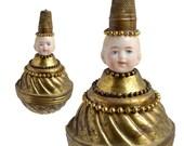 brass finial ornament, mixed media assemblage, brass boy, art doll ornament, by Elizabeth Rosen