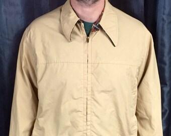 Vintage Derby brand jacket tan with plaid interior