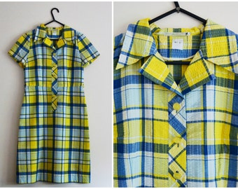 Yellow Blue Checkered Dress - 70s, plaid, mod, yellow, white, blue, larger small - medium