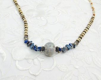 Vintage Lapis Necklace, Native Design, Large Blue Stone, HALF OFF  SALE, Item No. B143