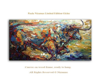 Bull in Blue - Limited Edition - Abstract Bull Art Giclee on canvas Home Decor Paula Nizamas ready to hang
