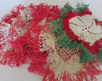 Vintage Lot of 8 Crochet Doilies Star Border doilies Christmas Home decor Table Centerpiece Doily