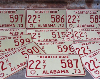 Price PER License Plate Vintage ALABAMA License Plate Metal Heart of Dixie 1973 70s Auto 1970s Off White & Red vtg Man Cave Many Available