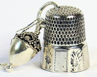 Antique Thimble and Acorn Hidden Kisses Peter Pan and Wendy Necklace Sterling Silver