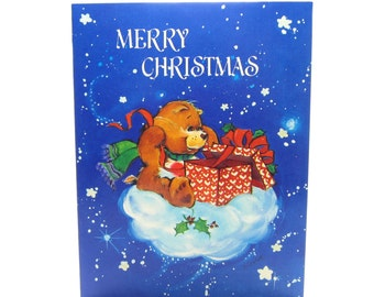 Merry Christmas Care Bears Card with Tenderheart Bear on a Cloud