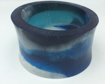 Ocean Blue Resin Chunky Bangle