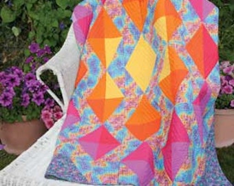 Digital Geode quilt pattern, 70 1/2'' x 86 1/2'' Brightly Colored Diamonds Shine on this BEGINNER FRIENDLY Quilt! 2.99