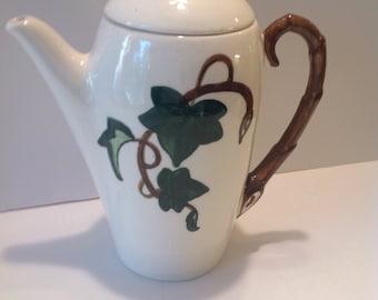 Metlox Poppytrail  Ivy Coffee Pot, Vintage California Pottery, 1940's