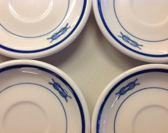 4 US Navy WWII Junior Grade Officer's Square Knot Demitasse Saucer, in excellent condition, priced on each