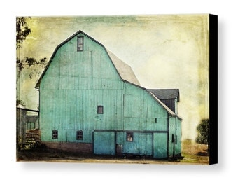 Aqua Barn Gallery Wrapped Canvas Fine Art Photography Mint Green Turquoise Teal Country Rustic Livingroom Farmhouse Farm Home Decor Wall Art