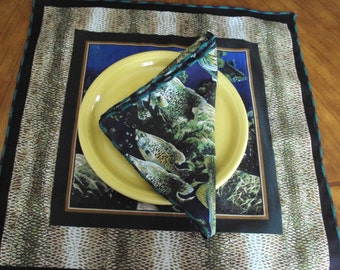 Set of four fabric napkins in a fish design, dinner napkins, picnic napkins, fish fry napkins