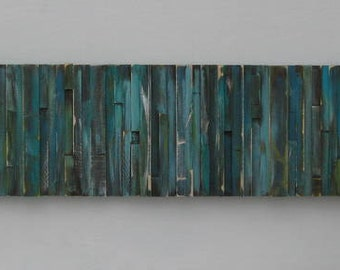 Wood Wall Art ,Abstract Painting on Wood ,Wood Wall Sculpture ,Distressed,Wall Art,Blue Green,Rustic, Wall Hanging