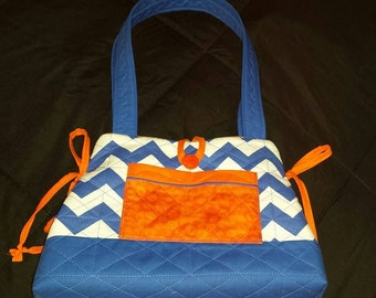 Mini Bow Tucks Tote Bag in Orange and Blue Fabrics