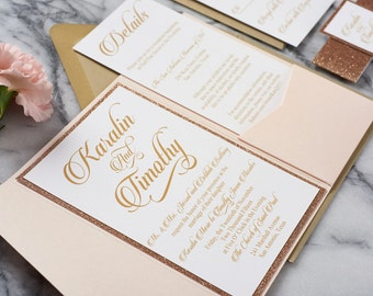Glitter Wedding Invitations, rose gold wedding invitations, copper wedding invitations, glitter pocketfold invitations, Karalin