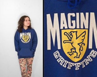 MAGINN Griffins Hoodie 1980s Athletic Unisex Cobalt Blue Pullover Sweatshirt