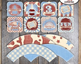 County Fair Cupcake Toppers - Fair Cupcake Toppers & Wrappers - Printable (Country Fair, Carnival, Ferris Wheel, BBQ, Ticket, Pig, Vintage)