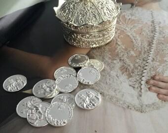 Arras wedding coins, coins wedding arras,  arras coins, Arras para Boda,silver wedding coins Arras and cage, silver  tone wedding cage