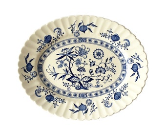 Blue and White Serving Platter, Blue Nordic, England
