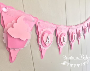 Baby Shower Banner, Cupcake Baby Shower, Girl Baby Shower, Cupcake Theme, Custom Banner, Baby Girl Photo Prop - Made to Order