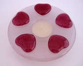 Fused Glass Candle holder and Ikebana Vase with Fuschia Pink Hearts on Pale Pink Base
