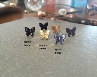 BUTTERFLY >> gold sparkle >> hand painted earrings >> why the fuck not