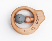 Personalized Teething Toy, Baby Toy, Wooden Toy, Rattle a Blue Eye Fish