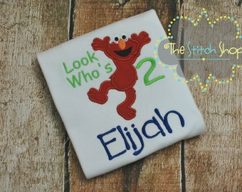 Elmo Appliqued and Monogrammed Birthday Shirt