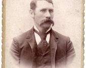 Man With Mustache Antique Photo Port Jervis New York Orange County Victorian Studio Portrait Vintage Fashion Photograph Substantial Wear