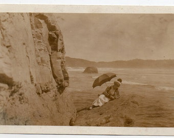 Woman Resting In The Sand With Umbrella Antique Real Photo Postcard Victorian Lady Vintage Fashion Photo Paper Ephemera RPPC