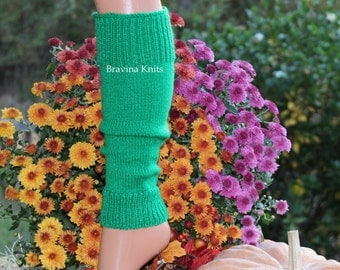 Green Leg Warmers Child  13 inches