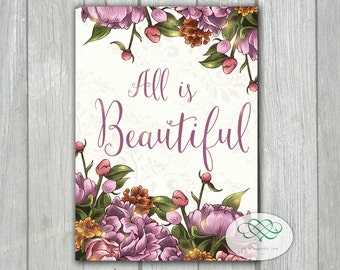 All is Beautiful - Inspirational Spring Garden Flowers Quote 5x7 Card