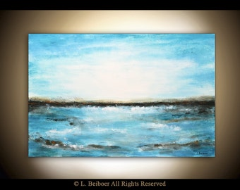 Original landscape painting blue seascape abstract art oil painting water waves 24 x 36 modern art peinture by L.Beiboer