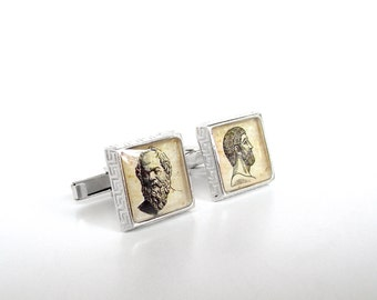 Solid Sterling Silver Philosophy Cuff Links - Socrates and Plato Greek-Style Cufflinks